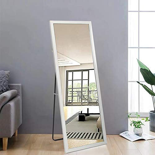 """Beauty4U Full Length Mirror Free Standing Leaning Body Mirror, White Dressing Floor Mirror for Home Decor, 59""""x19.7"""""""