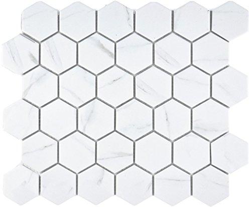 Mosaik Fliese Keramik weiß Hexagon Carrara für WAND BAD WC DUSCHE KÜCHE FLIESENSPIEGEL THEKENVERKLEIDUNG BADEWANNENVERKLEIDUNG Mosaikmatte Mosaikplatte