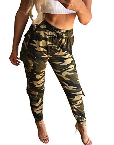 Worldclassca Damen Cargohose Camouflage Jogginghose Fitnesshose Hose Sweatpants MITITÄRY Sporthose Trainingshose Freizeithose Fitness Blogger NEU S-XL (36-38, Khaki-Camouflage)