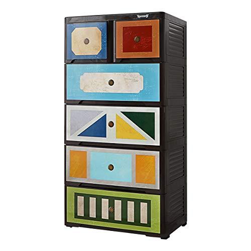 Drawers Kunststoff-Kommode, Haushalt Wohnzimmer, Schlafzimmer Lagerung und Fertigstellung Kabinett, Kinder Baby-Multi-Layer-Kleiderschrank mit Riemenscheiben 58x40x115.8cm ctg