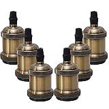 Sevenpers Portalámparas Vintage E27, 6 piezas Casquillos para Bombillas Adaptadores de Portalámparas Cerámica Edison retro lámpara, para Hogares Oficinas Bares Restaurantes (Bronce)