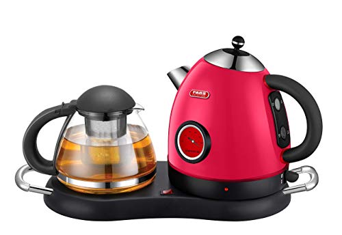 NEW DESIGN Tea/Coffee Maker, Cordless Electric Stainless Kettle Set with Water Level Indicator, Keep Warm Tray, Boil Dry protection & Auto Shut Off (Red)