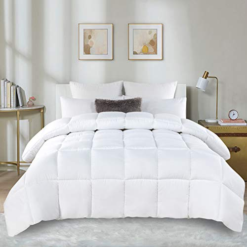 DOWNCOOL Goose Down Alternative Quilted Comforter-All Season Luxury 350 GSM Comforter-Plush Microfiber Fill-Lightweight Duvet Insert or Stand-Alone Comforter with Corner Tabs(Queen, White)