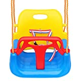 Tgzwme 3 in 1 Kids Swing Seat, Toddler Infants to Teens High Back Full Bucket Secure Swing Chair Detachable Indoor Outdoor Toddlers Children Hanging Seat with Snap Hooks and Hanging Strap (Blue)