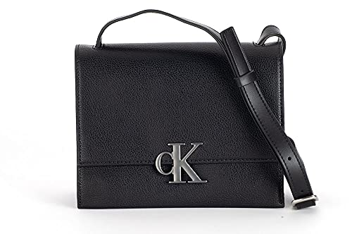Calvin Klein Minimal Monogram SM Flap Xbody, Crossovers para Mujer, Black, Medium