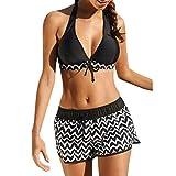 Bikini Mujer 2019 Push Up Logobeing, Conjuntos de Mujer Tankini Bikini de Dos Piezas con Pantalones Cortos deurf de Niño Trajes de Baño Brasileño (2XL,Negro)