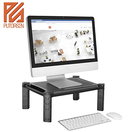 PUTORSEN® Soporte para Monitor Ajustable para computadora, iMac, PC, Impresora, computadora portátil con Tableta y Soporte para teléfono, Ranura para administración de Cables