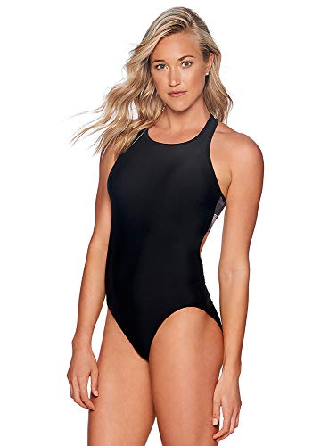 Reebok Lifestyle Women's Swimwear Bold Dynamic Mono-Kini High Neck One Piece Swimsuit, Black, Medium