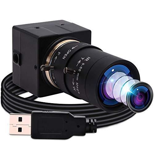 ELP Webcam 1080P HD 5-50 mm con messa a fuoco variabile, fotocamera USB, mini zoom web, supporta 640x480@100fps, grandangolo per videoconferenze per Mac/Android/Windows/Raspberry USBFHD01M-SFV (5-50)