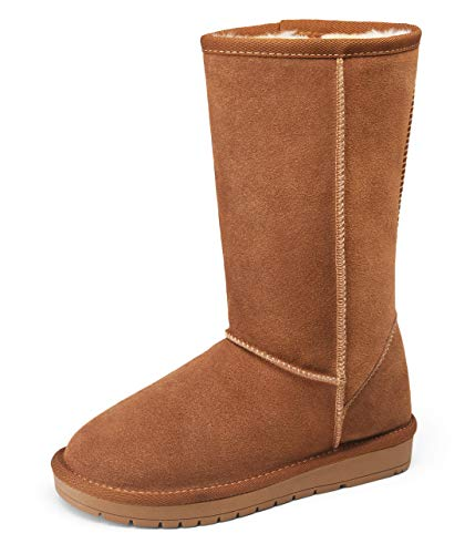 VEPOSE Women's Snow Boots Warm Suede Mid Calf Booties Classic Winter Knee High Shoes Brown(8,Tall Winter-988-Brown)