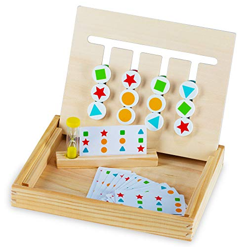 Play Brainy Four-Color & Shape Puzzle Game Montessori Toy – Fun & Educational 2-Sided Sliding...