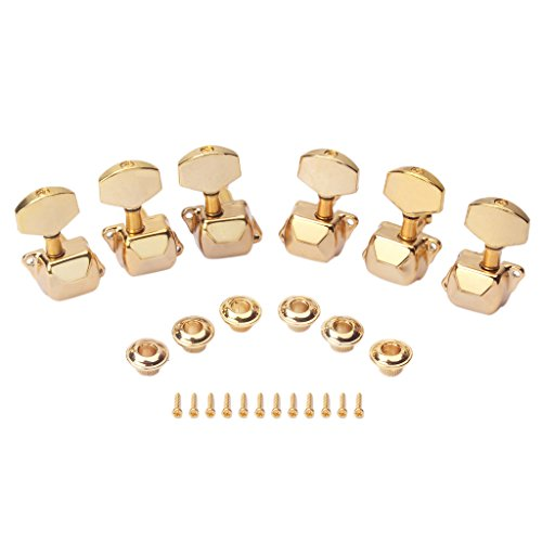 SDENSHI 6 Stück Halbgeschlossene Stimmwirbel Stimmgeräte Für Akustik/Zigarrenkiste Gitarre 3L 3R - Gold