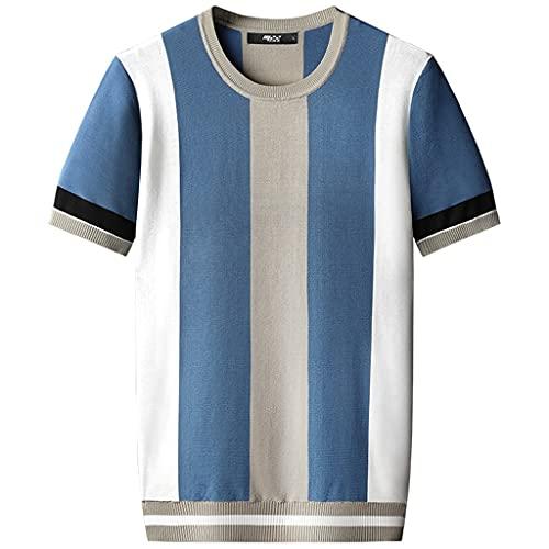 SKREOJF Kurzärmeliger Pullover-Männer Dünne Sommer-lässig Rundhals-loses T-Shirt (Color : A, Size : XXXXXL code)