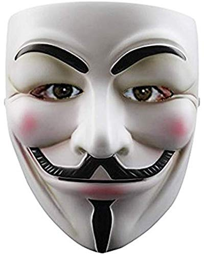 Balloonistics Guy Fawkes Halloween Costume V for Vendetta Mask Anonymous Fancy Cosplay (White)