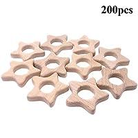 Wendysun純粋な天然木の歯のおもちゃの 100pcs 五角星の木の歯モンテッソーリのおもちゃの木の歯リング有機ベビー歯ロープ手作りペンダントセットシャワーギフト (100pcs)