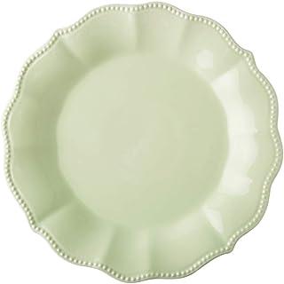 LXX-プレート ヨーロッパエンボス花びらセラミック皿サラダボウル西部ステーキ皿ホームフルーツプレートセット (Color : Green, サイズ : Plate-27X27X2.8CM)
