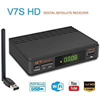 GT Media V7S HD DVB-S2 El Receptor de TV Satelital Incluye USB WiFi Incorporado FTA 1080P Full HD Compatible con CC Am, Newcam, PVR, Youtube, PowerVu, Dre y Biss Clave