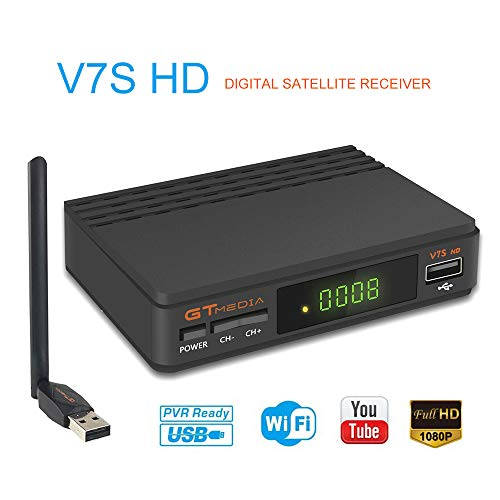 GT Media V7S HD DVB-S2 El Receptor de TV Satelital Incluye USB WiFi Incorporado FTA 1080P Full HD Compatible con CC Am, Newcam, PVR, Youtube, PowerVu, Dre y Biss Clave