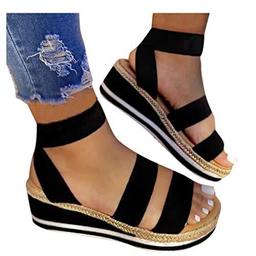 KINGOLDON Womens Wedge Open Toe Platform Sandals Flat Comfortable Elastic Band Ankle Strap Shoes Black