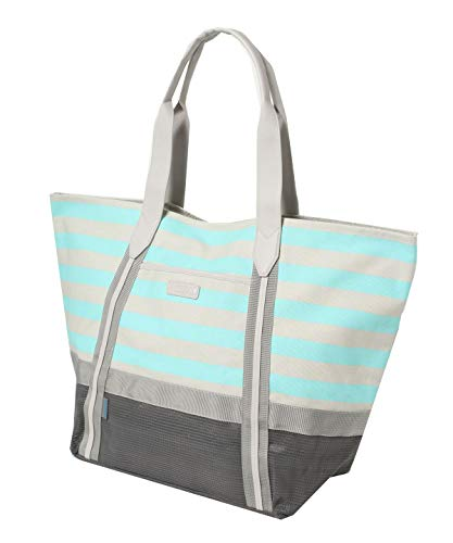 CGear Sand-Free Tote IV - Grey Stripe - Extra Large Beach Bag, Patented Sand Free Technology, Water-Resistant, Multiple Pockets