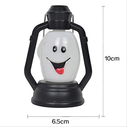 Halloween-lantaarn, nachtlampje, 3D, met greep, voor tuin, huis, vakantie, decoratie, 10 x 6,5 cm, wit