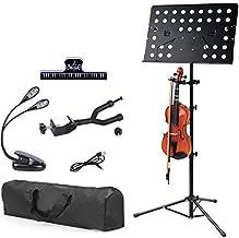 Klvied Sheet Music Stand with Violin Hanger, Folding Music Stand, Portable Fortable Music stand for Sheet Music, Violin Mu...