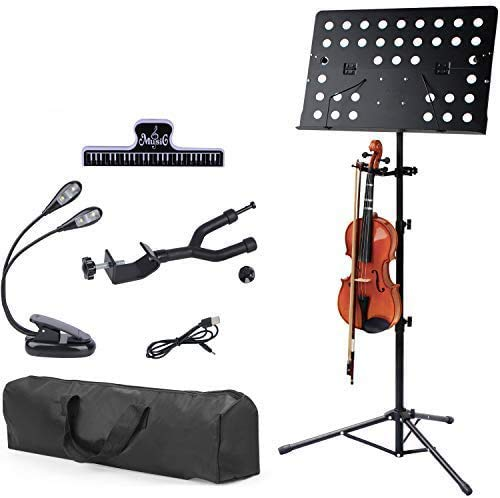 Klvied Metal Violin Music Stand with Violin Hanger, Folding Music Stand, Portable Fortable Music stand for Sheet Music, with Travel Case, Light, Black