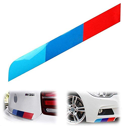iJDMTOY 17 by 2-Inch Reflective M-Colored Stripe Decal Sticker Compatible With BMW Exterior Cosmetic, Such As Hood/Bonnet, Trunk, Side Skirt, Bumper, etc