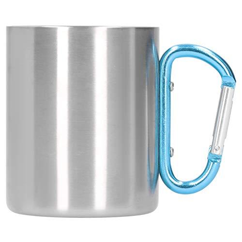 WAQU Taza de café-Taza de Acero Inoxidable-Taza de café de 360ml Taza portátil de Viaje de Acero Inoxidable 304 con asa de aleación de Aluminio