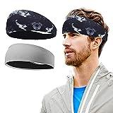 BERYCH Cinta deportiva de dos piezas para la cabeza, para hombres y mujeres, cinta para la cabeza, cinta para la cabeza, para yoga, ciclismo, antideslizante, elástica y absorbente del sudor