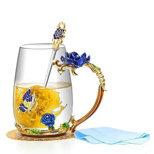 Evecase Smalti Fiore di farfalla Tazze da caffè in vetro Tazza da tè con cucchiaio in acciaio e confezione regalo, regali personalizzati per le donne Moglie Mamma Compleanno Festa della mamma