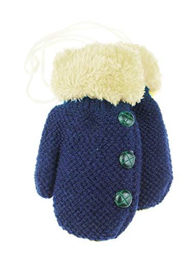 Glamour Girlz Moufles d'hiver en tweedy pour bébé garçon avec doublure en polaire et boutons 6-15 mois (bleu marine/crème)