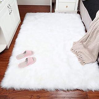 comprar comparacion DAOXU Piel de Imitación,Cozy sensación como Real, Alfombra de Piel sintética Lavable para sofá o Dormitori (60 x 90cm, Bla...