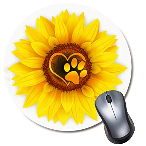 Round Gaming Mouse Pad Cute Dog Paw Print Love Yellow Sunflower White Mousepad for Computer,Funny Gift Non-Slip Mouse Mat