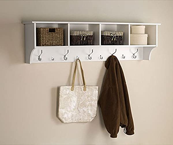 White 5 Ft Entry Hall Shelf With 4 Cubby And 9 Hook Coat Rack A Wall Mount Storage Hat Rack Makes A Convenient Space Saver That Keeps Your Entryway Organized Use A Hanging Entryway Shelf To Reduce Clutter