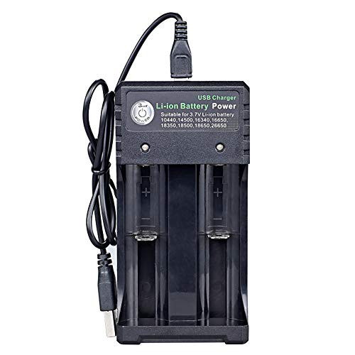 RUIHUA Dual-Slot USB Cargador, 18650 Cargador de batería de Alta Potencia Linterna comisiones de Manera Independiente Baterías 3.7V cilíndrico 2 de Litio con indicador de luz LED