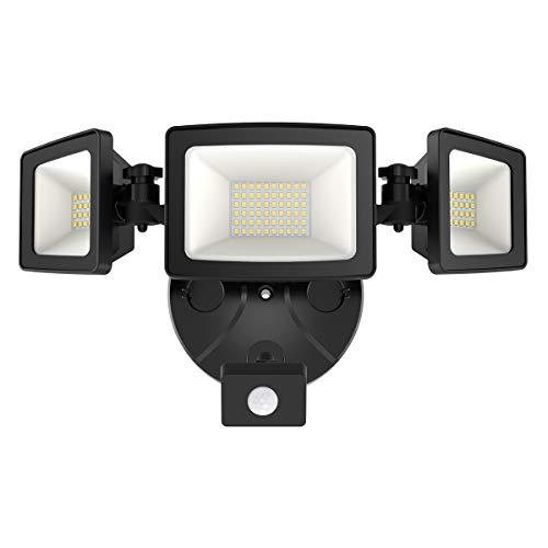 Onforu 50W LED Security Lights with Motion Sensor, Three Head Outdoor Indoor Flood Light 5000 Lumens 5000k IP65 Waterproof Floodlights for Entryways Stairs Yard Garage, Black