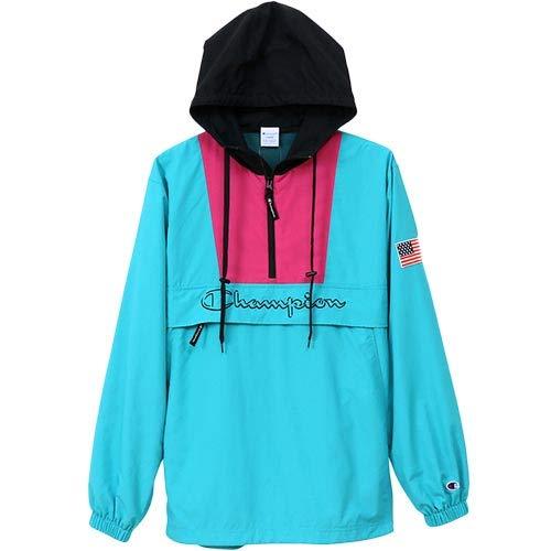 [チャンピオン] アノラックジャケット パーカー ハーフジップ スクリプトロゴ刺繍 C3-L609 メンズ アクア L