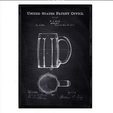 Nacnic Poster con Patente de Jarra de Cerveza. Lámina con diseño de Patente Antigua en tamaño A3 y con Fondo Negro