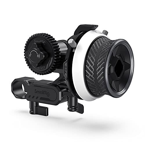 SmallRig Mini Follow Focus with A/B Stops & 15mm Rod Clamp and Snap-on Gear Ring Belt for DLSRs and Mirrorless Cameras, Fits Different Diameter Lenses Up to 114mm - 3010