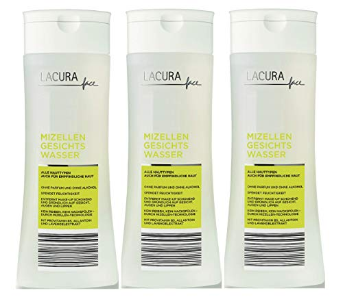 Lacura Gesichtswasser Mizelle Vegan Parfüm+Alkoholfrei 3er-Pack(3x250ml)