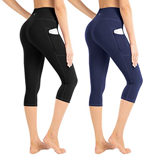 LifeSky Yoga Capri Pants for Women with Pockets High Waist Tummy Control Leggings 4 Way Stretch Soft Athletic Leggings, Pack of 2, XL