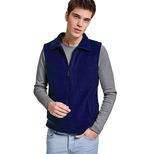 24 JOYAS Gilet in pile con collo alto, cerniera e tasche – cappotto comodo, morbido, caldo e piacevole al tatto. blu L