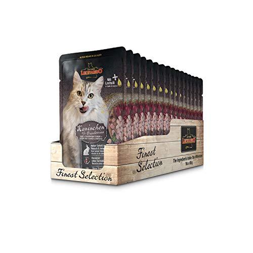 Leonardo Frischebeutel [16x85g Kaninchen + Cranberries] | Getreidefreies Nassfutter für Katzen | Feuchtfutter Alleinfutter im Einzelportionsbeutel