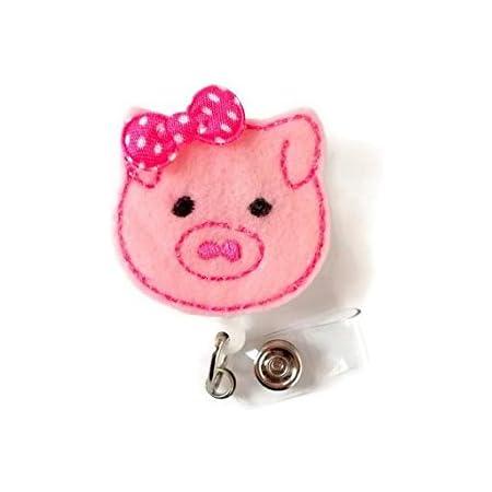 Pink pig badge reel