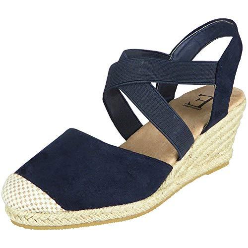 Damskie sandały na koturnie   Damskie elastyczne buty   Damski koturn Hesjski   Damskie buty z paskami   Damskie buty z zamkniętymi palcami   damskie buty esspadryle 3-8, - granatowy - 37 EU