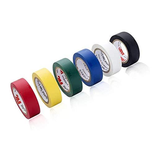 6 Stück Wasserdicht Elektrisches Isolierband, Farbig Elektrisch Selbstklebend PVC Klebeband, PVC Dichtband, für Verkabelungsprojekte und Reparaturen