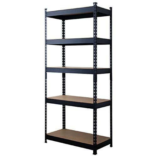WEIMALL オープンシェルフ 5段 幅80cm×奥行40cm×高さ183cm 高さ調節可能 ラック スチールシェルフ 木製 収納 棚 本棚 組立簡単
