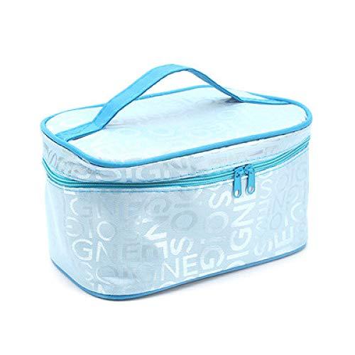 Sacs à main cosmétiques à main carrés Fashion Letters Sacs à main cosmétiques à grande capacité-Bleu ciel