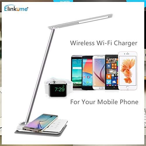 LED bureaulamp met draadloze oplader en USB-poort opladen Eye-Care tafellamp LED Desk licht met 5-Level Dimmer Touch, 4 Lighting Mode